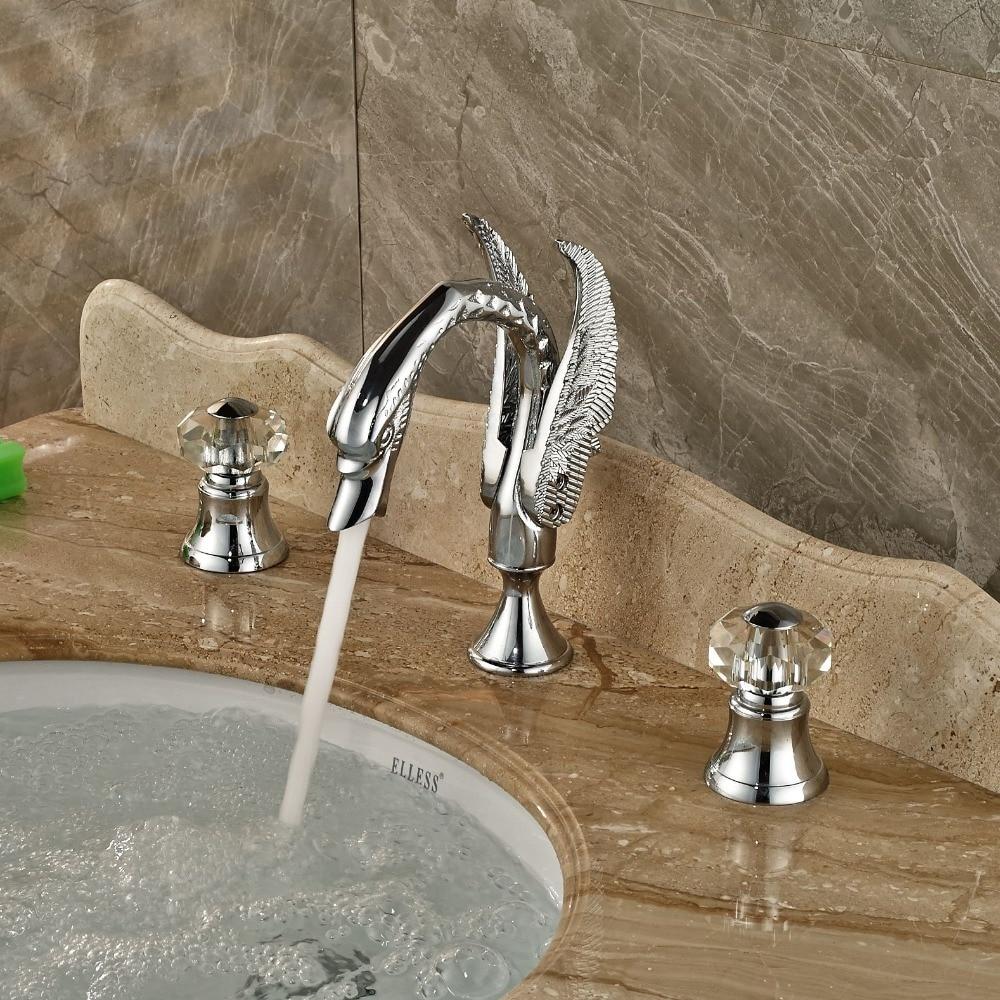 Luxury Crystal Handles Chrome Brass Widespread Bathroom Basin Faucet Vanity Sink Mixer декор lord vanity quinta mirabilia grigio 20x56