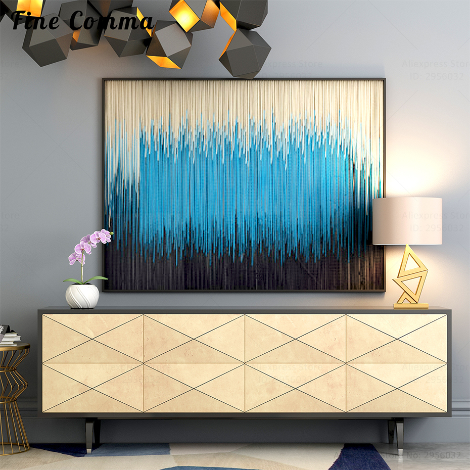 Oil Painting On Canvas Handmade Canvas Abstract Hand painted Canvas Oil Paintings for Living Room Wall Art Blue Nordic Decor
