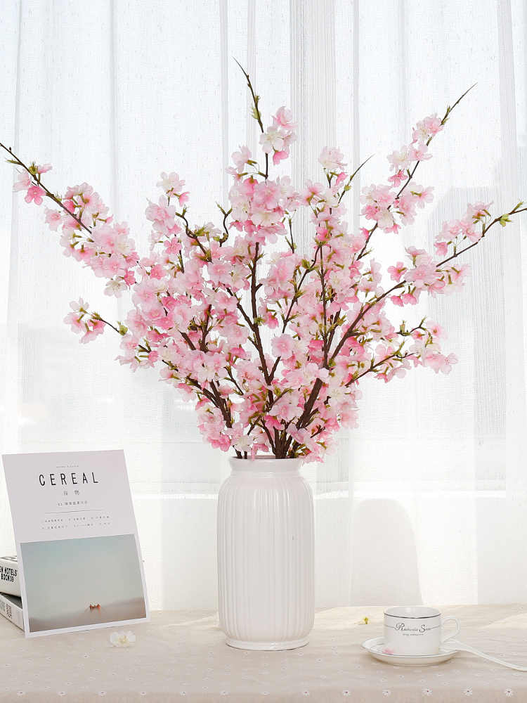 Artificial Flower Cherry Blossoms Peach Blossom Branch Fake Flower Vase Set Decorative Home Living Room Flower Arrangement Aliexpress