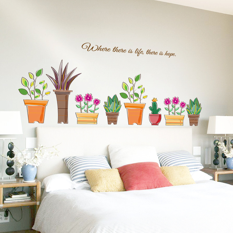 artificial flowers wall stickers for kids room waterproof