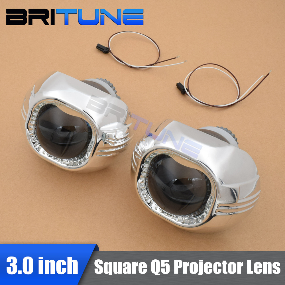 3 Inches Square Q5 Koito HID Bi-xenon Projector Lens Headlight LHD RHD Using D2H D2S HID ...