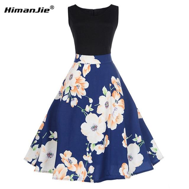 HimanJie Vintage Print High Waist Tea Dress Summer Women Retro 50s 60s  Dresses Elegant Party Vestidos 0d5680dbf46f