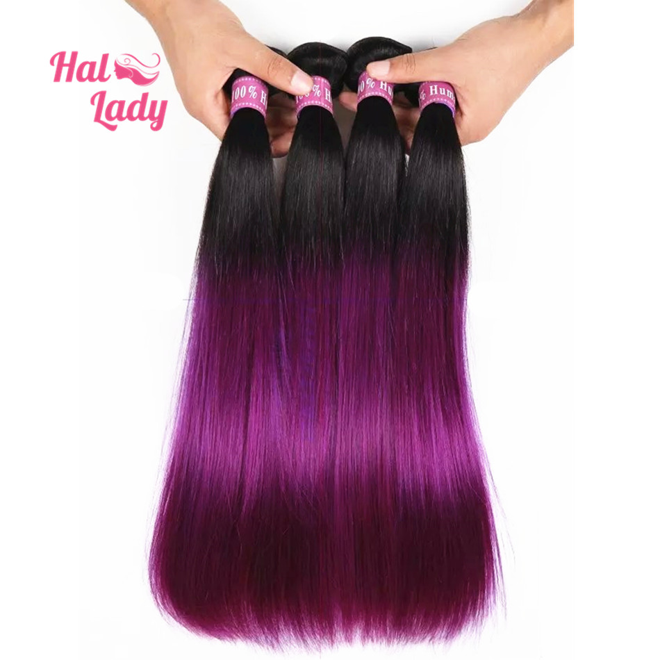 7a Purple Straight Hair Weaves 3 Bundleslot 2 Two Tone Ombre Color
