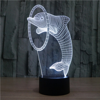 Cute Lovely Dolphin Shape 3D Illusion Lamp Touch Switch Acrylic 3D LED Night Lights Color Changing For Kids Lovers Best Gift