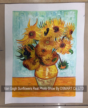 High Skilled Painter Hand Painted Still Life Vase With Fourteen Sunflowers Oil Painting For Wall Decorative Van Gogh Painting
