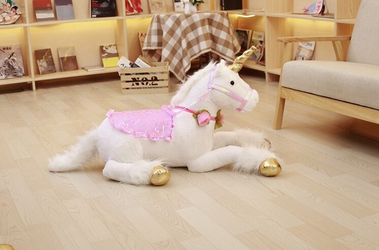 Grand jouet en peluche licorne peluche mascotte blanche jouet cadeau environ 90 cm