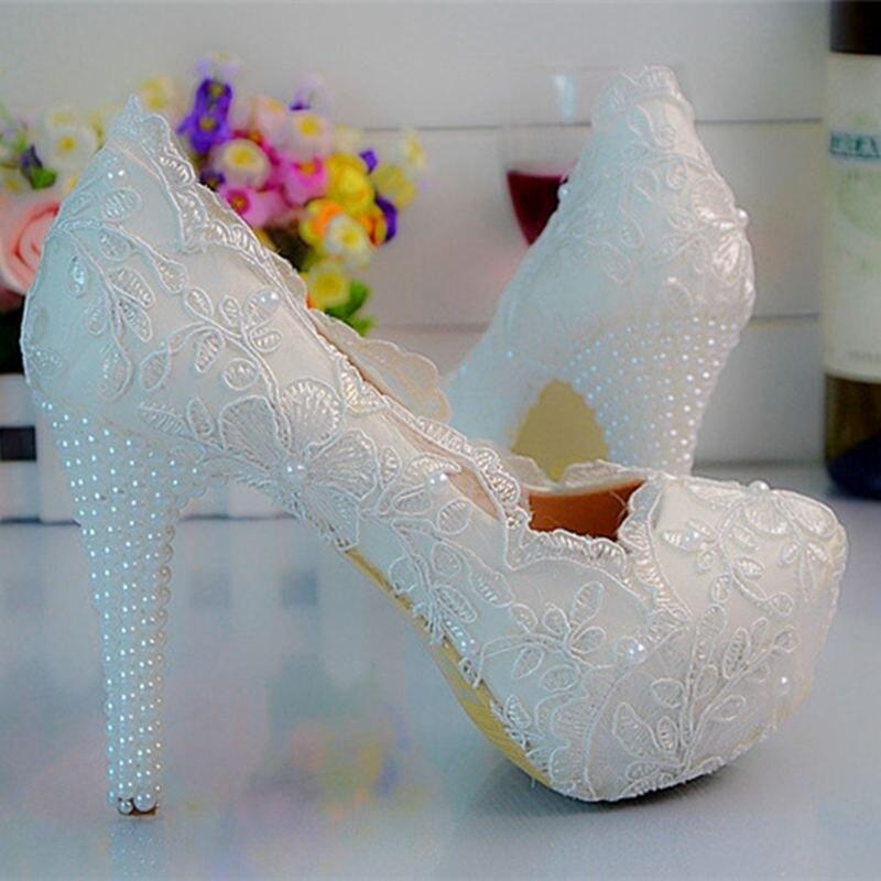 цена на 2016 Fashion White Sweet Lace Pearls Women Wedding Shoes High Heel Platform Bridal Dress Shoes For Women Big Size   No.43