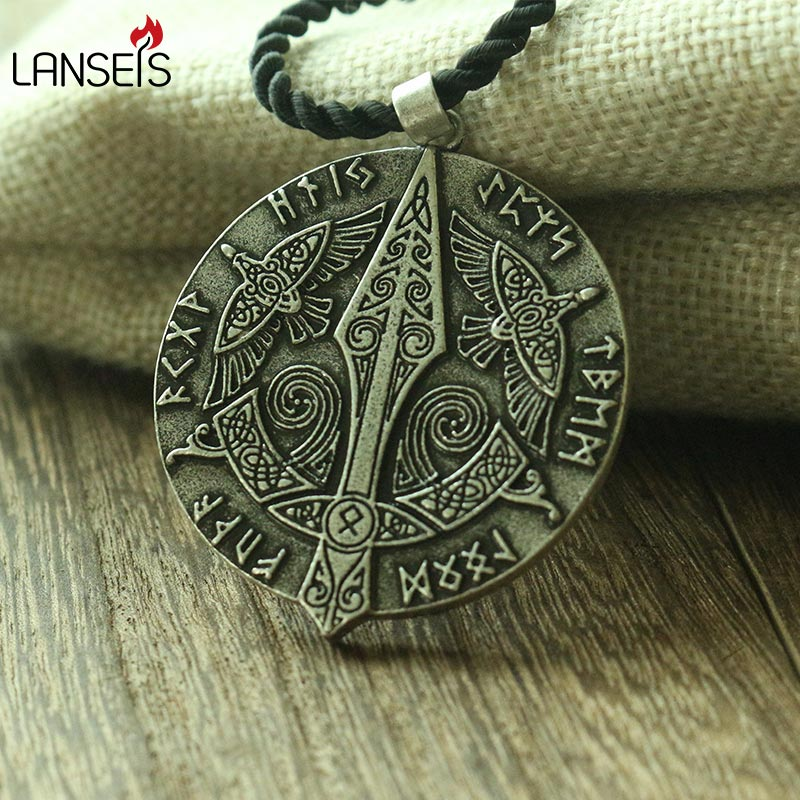 lanseis 1pcs viking men necklace celt crow norse letter symbol pendant celt three raven jewelry