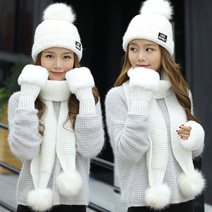 Image 5 - 2018 New Women Winter Hat Scarf /Gloves Sets Female Three   piece Knitted Hats Scarf Set Caps for Girl Warm Skullies Beanies hat