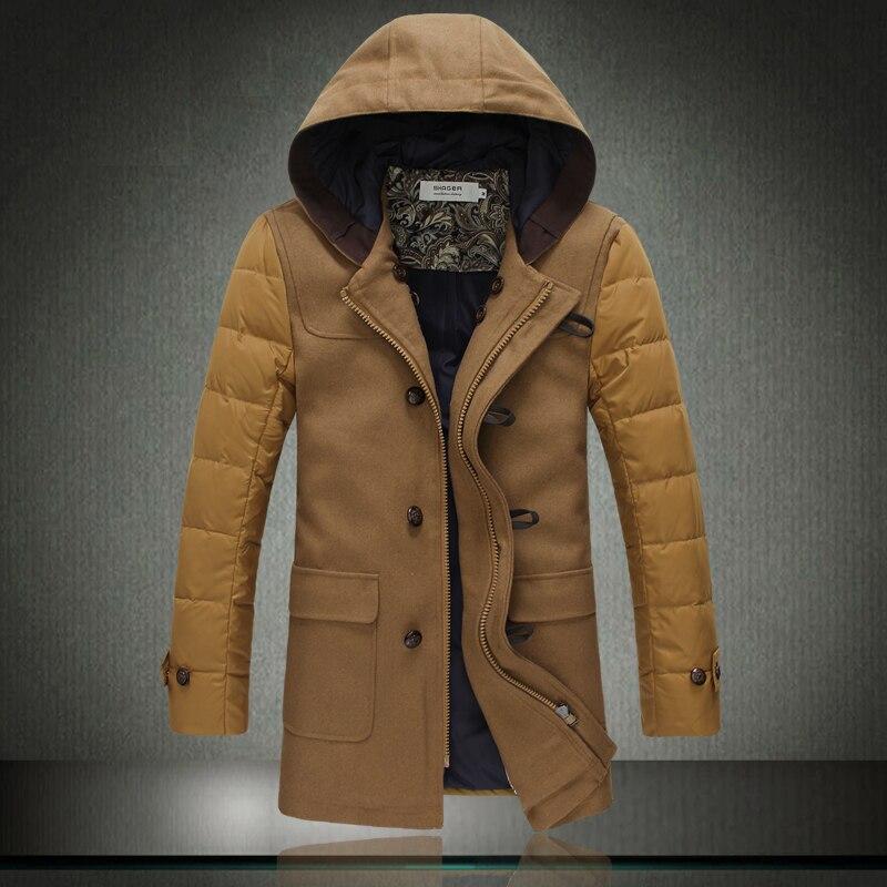 ФОТО winter jacket men 2017 warm jacket parka In long warm jacket! Woolen stitching hooded warm jacket 1826P200 overweight!