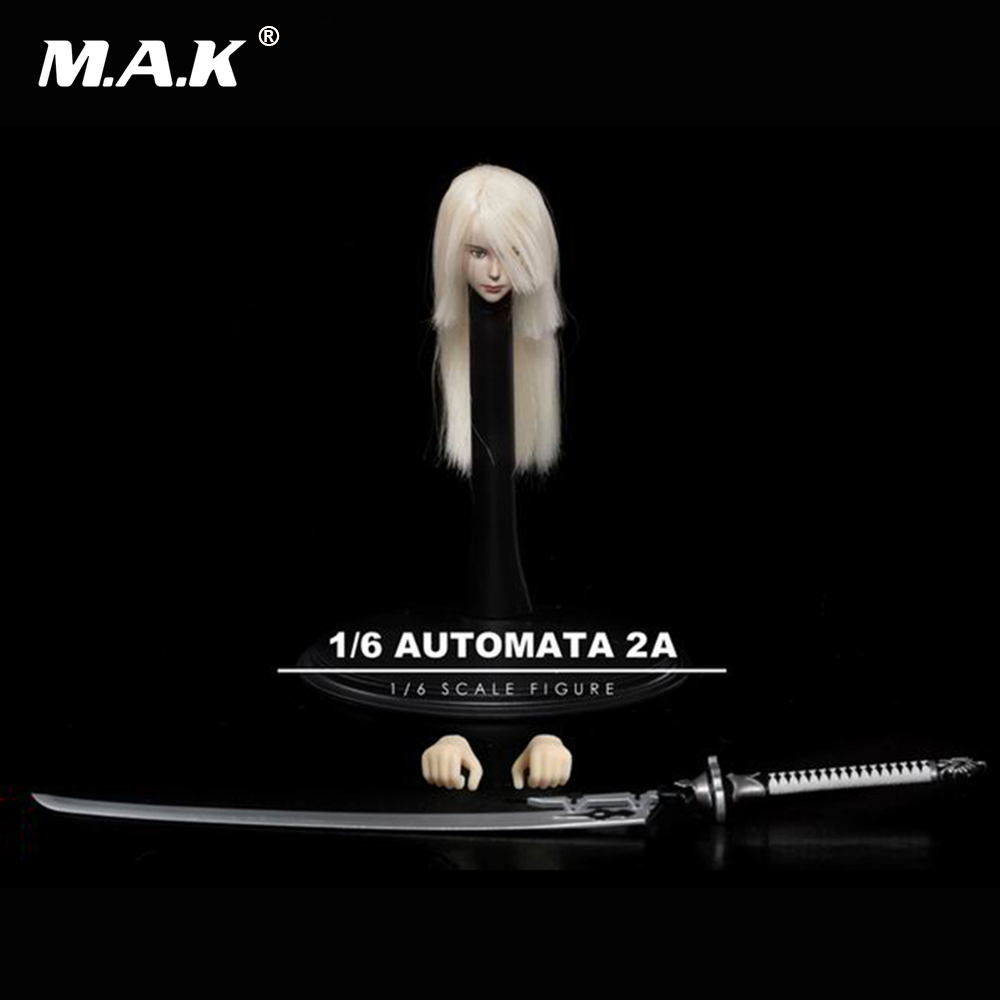 все цены на 1/6 Scale TF02 1/6 NieR:Automata A2 Female Girl Head Carved W Sword F TBL Figure for 12 inches Female Action Figures онлайн