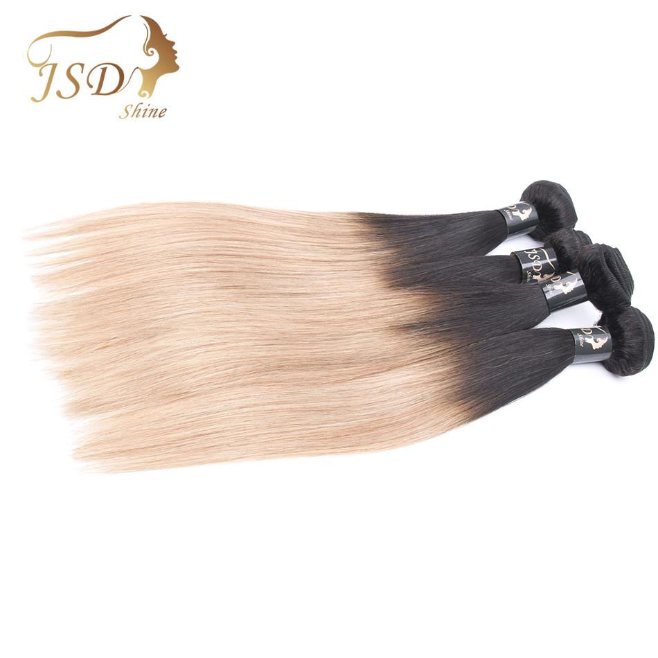 2 Tone Ombre Brazilian Hair Bundles Straight Weave Human Hair Extensions 10-28inches T1B/27 JSDShine Non Remy Hair No Shedding