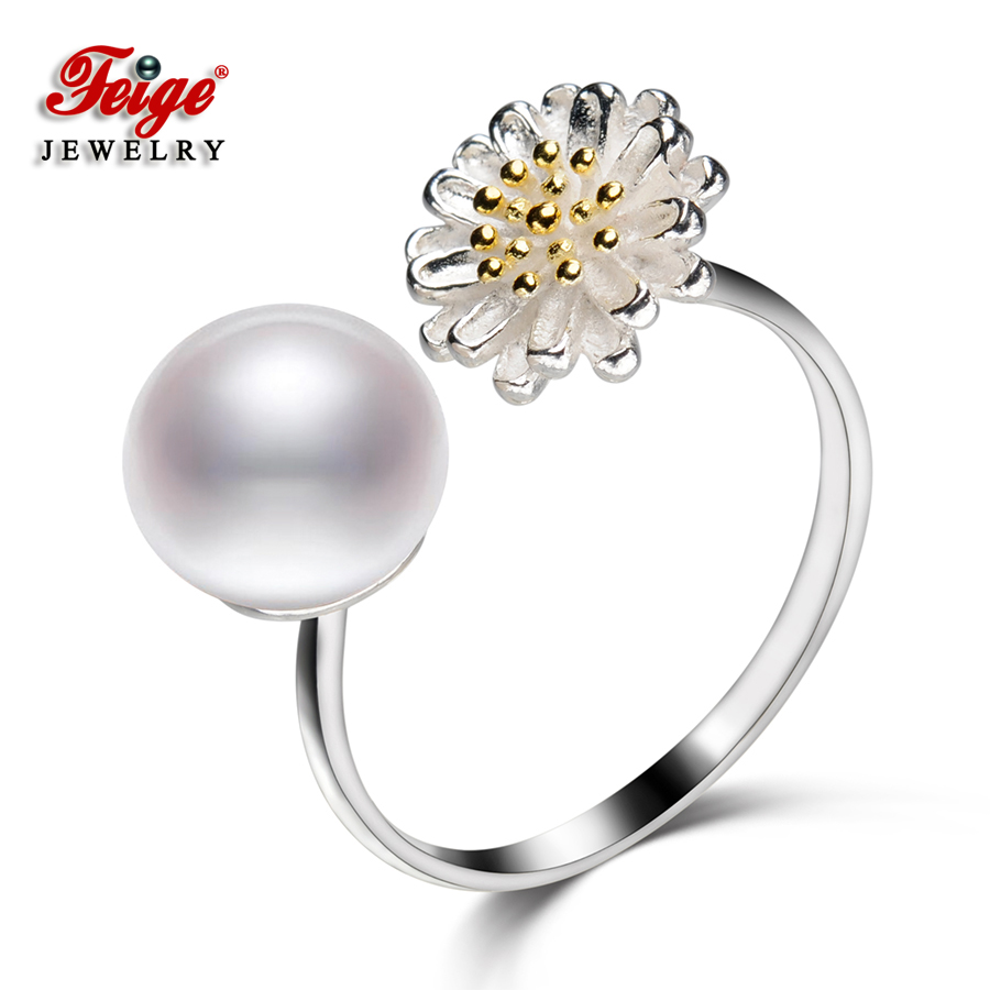 Flower Real Pure 925 Sterling Silver Ring for Women Anniversary Jewelry Gifts 8 9MM White Freshwater Pearl Rings Wholesale FEIGE in Rings from Jewelry Accessories