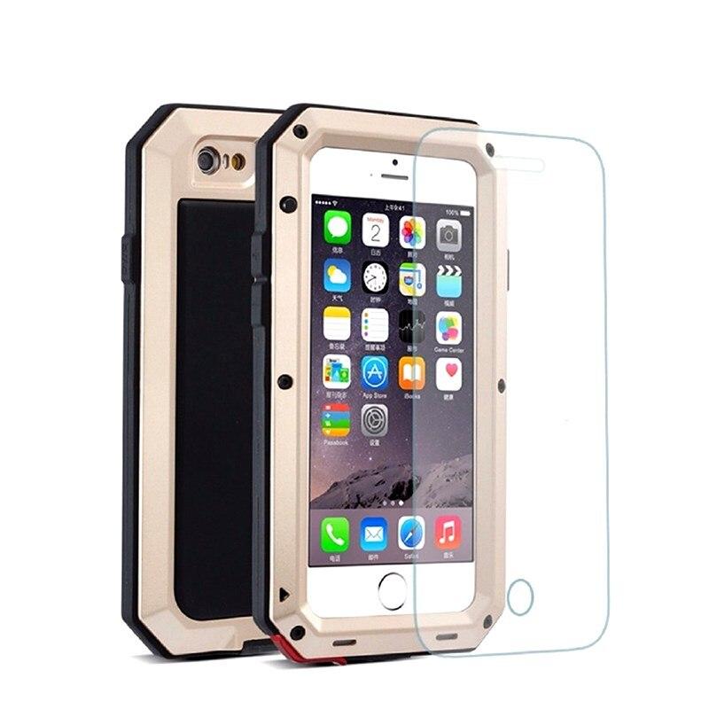 imágenes para Impermeable de Aluminio Gorilla Glass de Metal Cubierta Protectora Casos Para iPhone7 PLus/5S SE/6 s/6 más teléfono A Prueba de Golpes Para el iphone 7