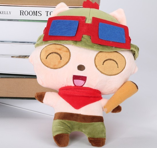 Новое поступление мини каваи LOL Teemo плюшевые игрушки, 45 см, LOL Teemo фаршированные рис плюшевые игрушки, лучший подарок