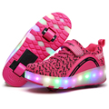 Tenis De Rodinhas Kids LED Flash Sneaker Flyknit children Tennis Sports Shoes Retractable Double Wheel roller skating Shoes