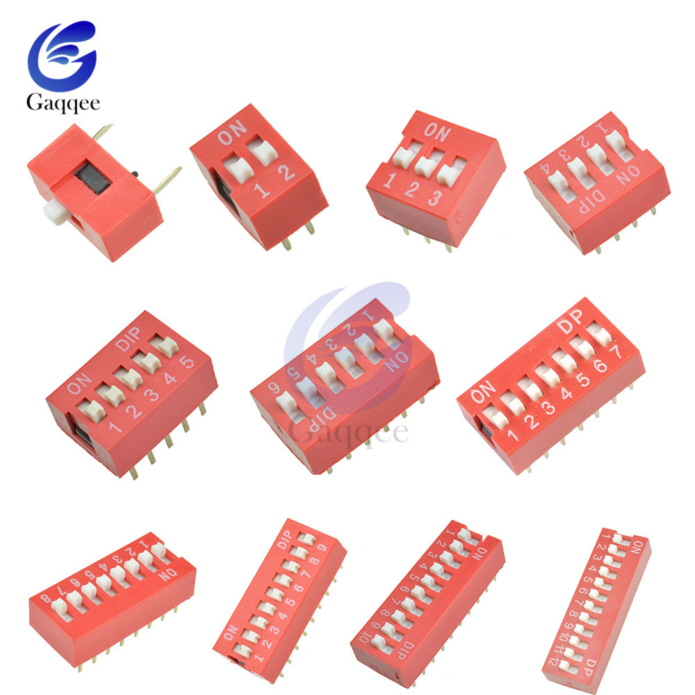 10Stks  Slide Type Switch Module 2.54mm 5-Bit 5 Position Way DIP Red Pitch