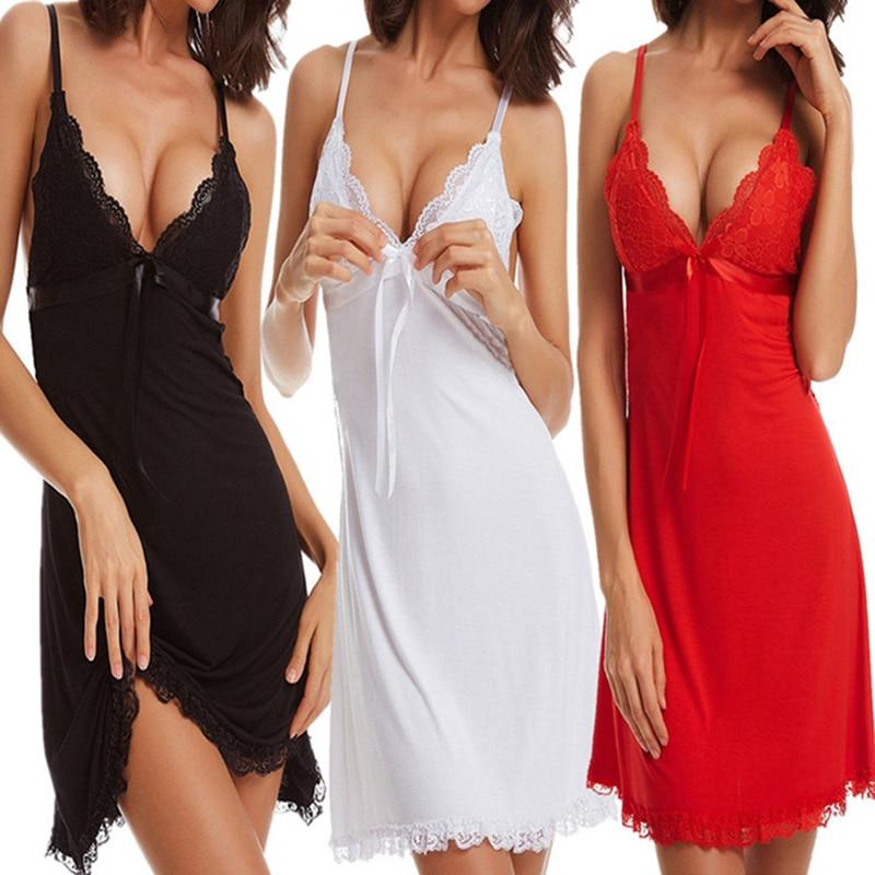 Women Nightdress Spaghetti Strap Backless Nightdress Women Sexy   Nightgown   2018 Ladies Fashion Lace Lingerie   Sleepshirts   Homewear