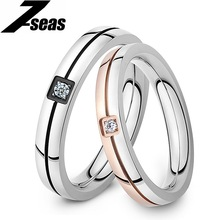 1 Piece Price Classic Crystal Ring 316L Stainless Steel Shinning Crystal Couple Ring set Forever Love