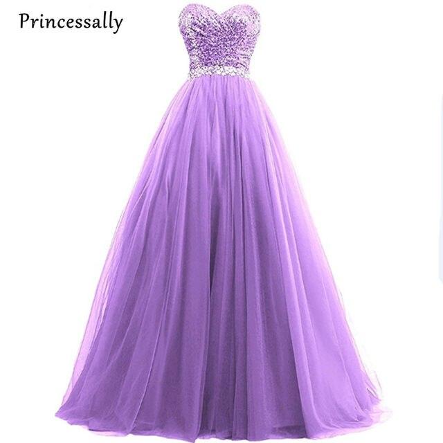 Online Shop Strapless Sleeveless Sequined Purple Sweetheart Ball ...