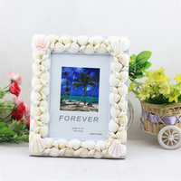 Vintage Luxury Natural White Seashell Photo Frame Resin Picture Holder 5 6 7 Inch Home