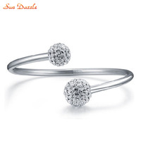 Genuine Real Pure Solid 925 Sterling Silver Bangles For Women Jewelry Cubic Zircon Crystal Ball Female