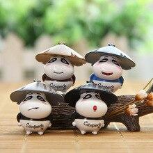 4pcs/set Cute straw hat Panda DIY animiation Action Figure Kids toys gift Miniature Model Doll house