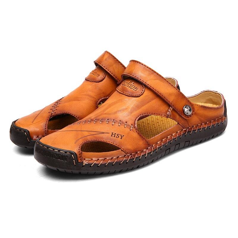 MLEAM New Casual Men Soft Sandals Comfortable Men Summer Leather Sandals Men Roman Summer Outdoor Beach Sandals Big Size 38-48
