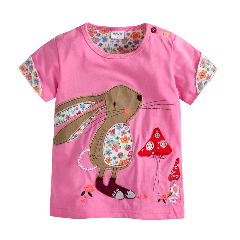 VIDMID Baby Girls T-shirt Short Sleeve Kids Clothes Brand Summer Tee T-Shirt Baby Girls Clothing Bunny T Shirt  Embroider