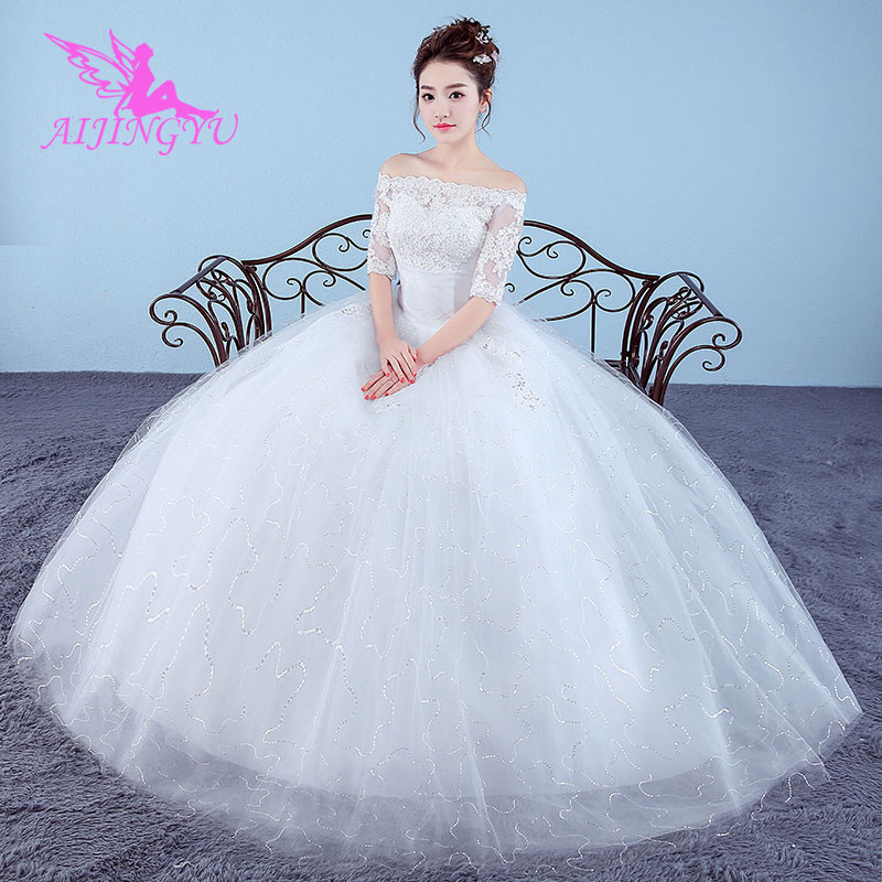 AIJINGYU 2018 Luxury Free Shipping New Hot Selling Cheap Ball Gown Lace Up Back Formal Bride Dresses Wedding Dress WK686