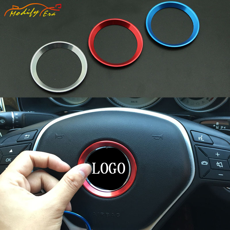 1pc Car Steering Wheel Emblem Decoration Circle Ring Modified 3D Sticker For Mercedes Benz A B C E Class GLK GLA GLC car-styling circle