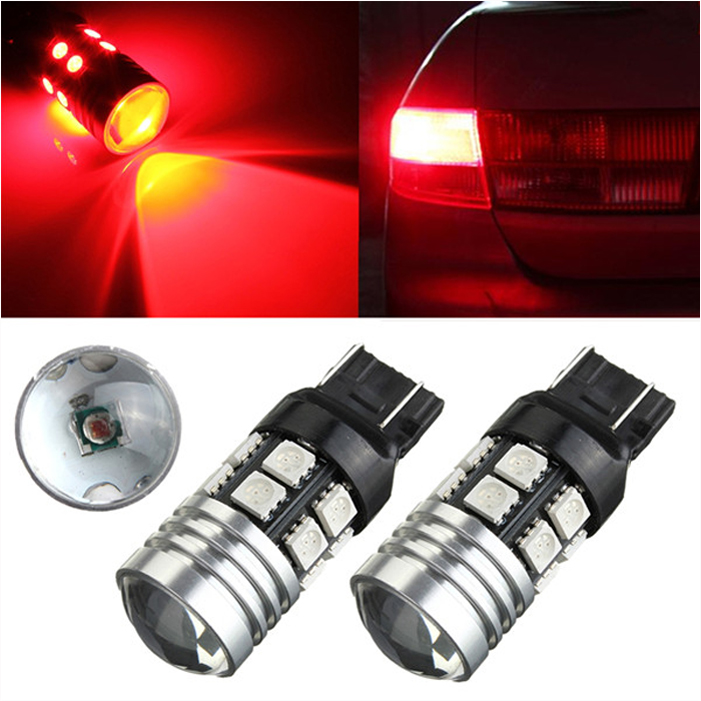 Big Promotion T25 7443 High Power led Q5 12 LED 5050 SMD Red Car Auto Brake Tail Stop Parking Light Bulbs Lamp DC12V