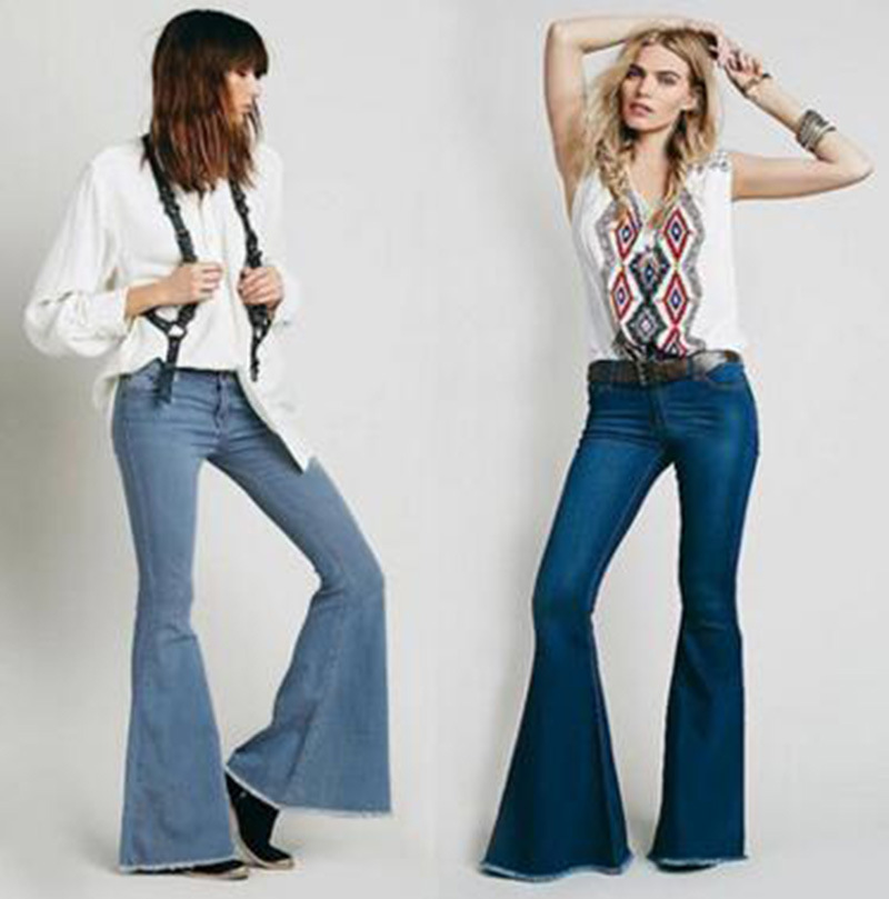 TUHAO Fashion High Waist Women Flare Jeans Mujer Bell Bottom Jeans Full Length Elastic Washing trousers Ladies Streetwear LM20