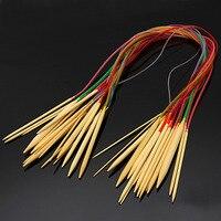 DIY stricken zubehör 18 Teile/satz 80 cm mehrfarbigen Kunststoffrohr Circular Stricknadeln aus Bambus Häkeln Handwerk Für Pullover Handschuhe