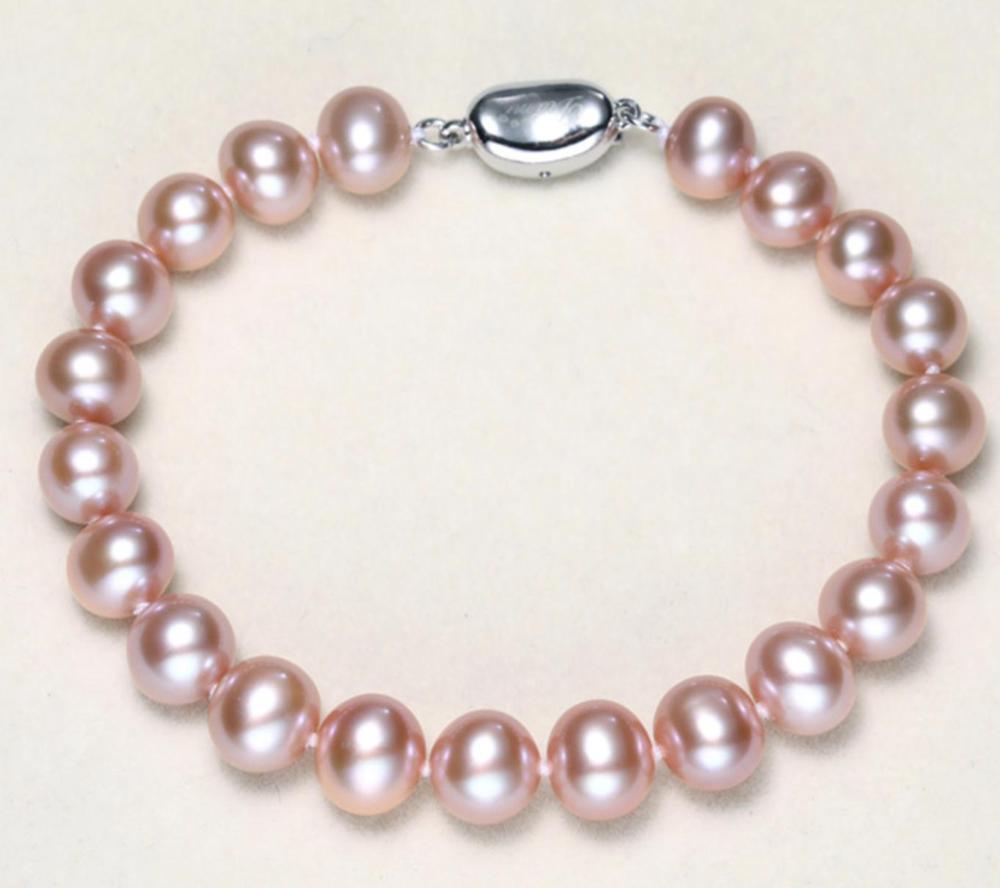 Charmant bracelet de perles de lavande ronde de mer du sud 9-10mm 7.5-8Charmant bracelet de perles de lavande ronde de mer du sud 9-10mm 7.5-8