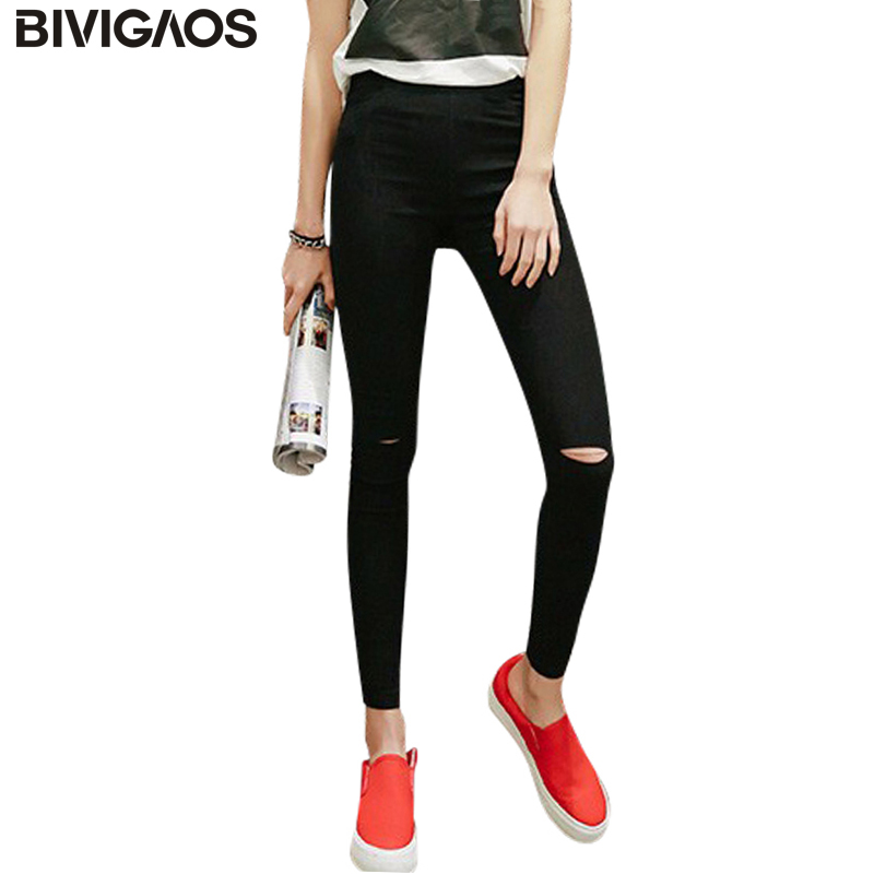 BIVIGAOS Vårsommer Kvinner Vevet Hole Legging Blyant Bukser Ripped Jeans Leggings Bukser Gothic Leggings For Women Black White