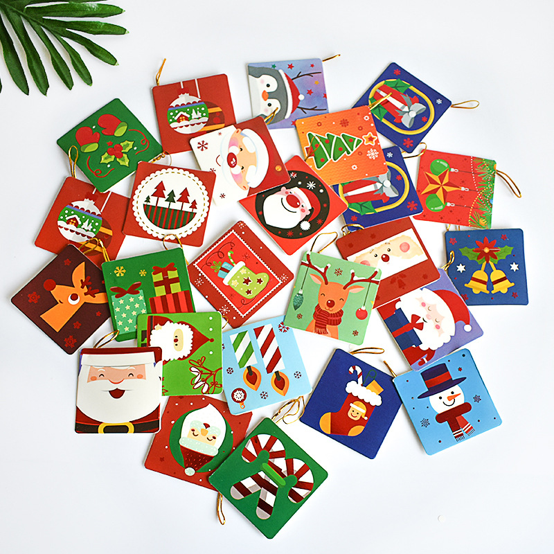 12Pcs/pack 7*7cm Merry Christmas Mini Wish Card Greeting Card Pendant Christmas Tree Ornament Gifts Card Stock(no Envelopes)
