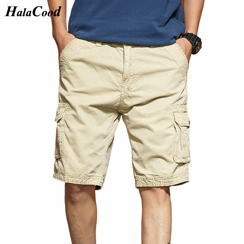 Hot Fashion New Men Cargo Shorts Male Cotton Casual Loose Short Pants Military Summer Style Knee Length Plus Size Shorts Men Fat
