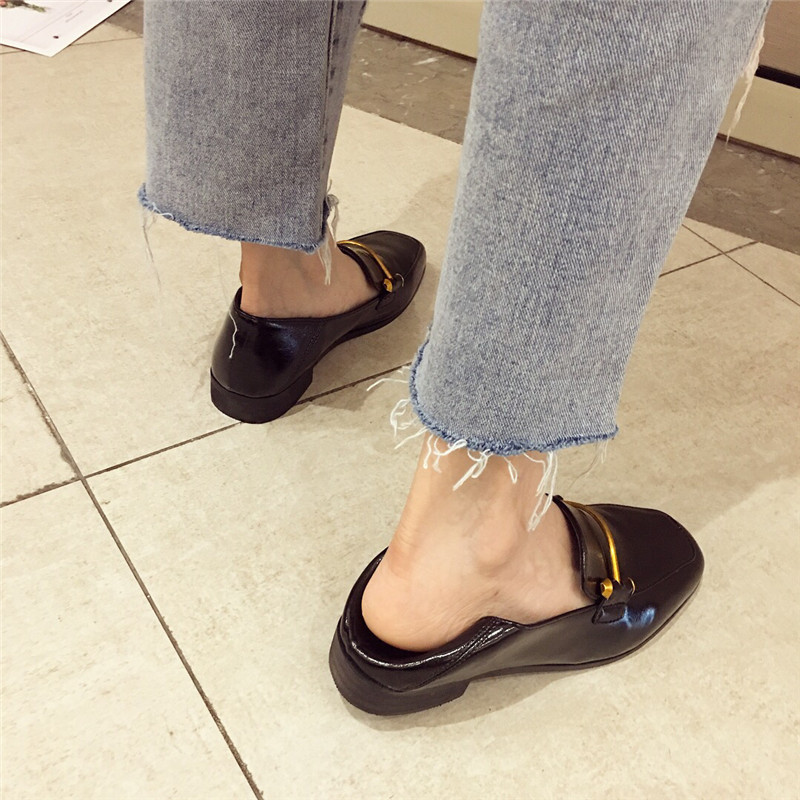 Fashion shoes for women 2018 new soft bottom British shoes woman square head single shoes female thick with flat shoes loafers 63
