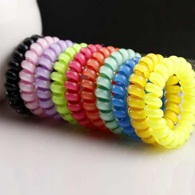 10Pcs/Lot Colorful Telephone Wire Cord Line Gum Holder Elastic Hair Band Tie Scrunchy 3cm 5cm Hair Accessory