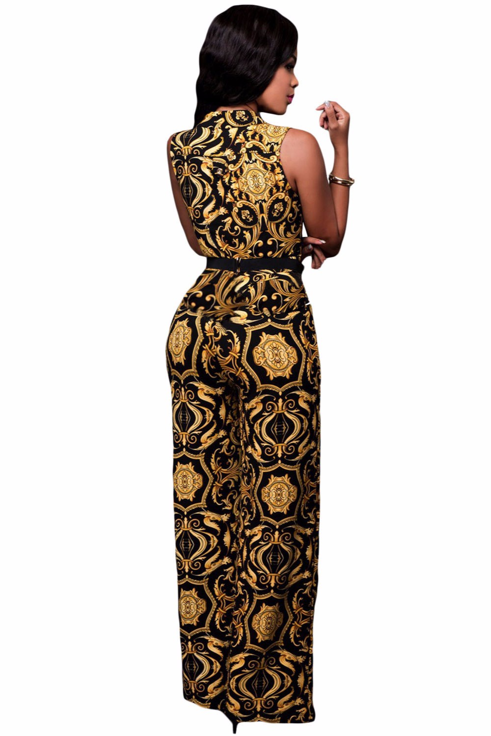 Black-Yellow-Tapestry-Print-Belted-Jumpsuit-LC64195-2-3