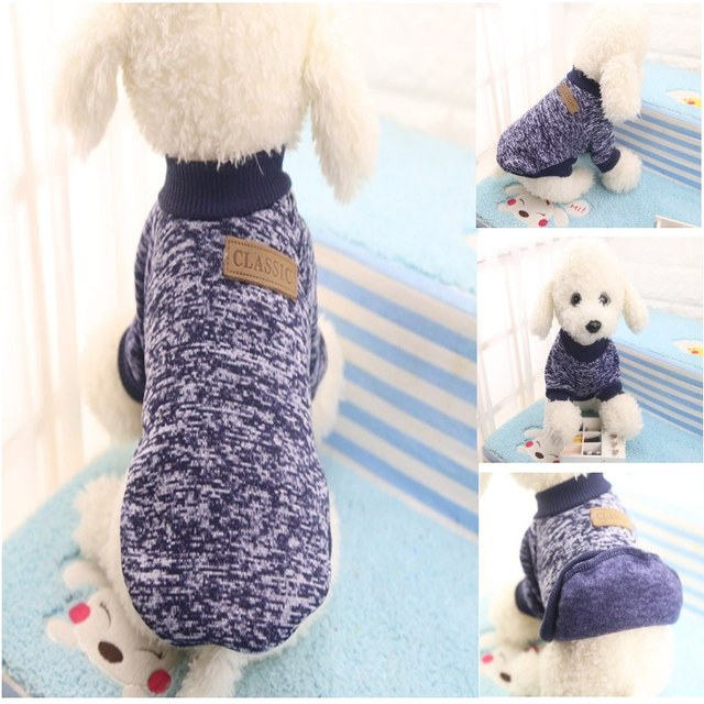 Classic Winter Warm Dog Clothes Puppy Pet Cat Jacket Coat Fashion Soft Sweater Clothing For Chihuahua Yorkie 9 Colors XS-2XL S9