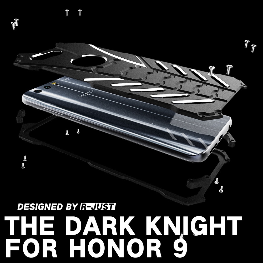 For Huawei Honor 9 Case Armor Heavy Dust Metal Aluminum CNC BATMAN Protect Skeleton Head Phone Shell Case Cover+lanyard+bracket