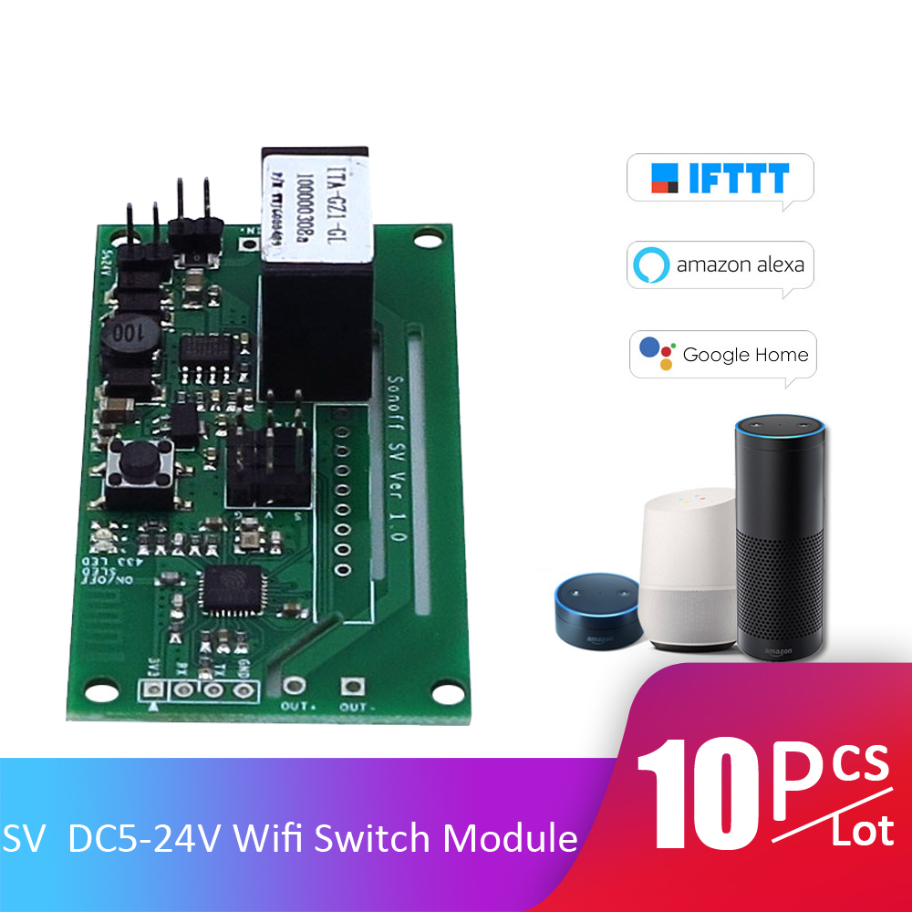 10pcs Lot SV ITEAD Safe Voltage DC 5 24V WiFi Wireless Switch Module Secondary Development Timing