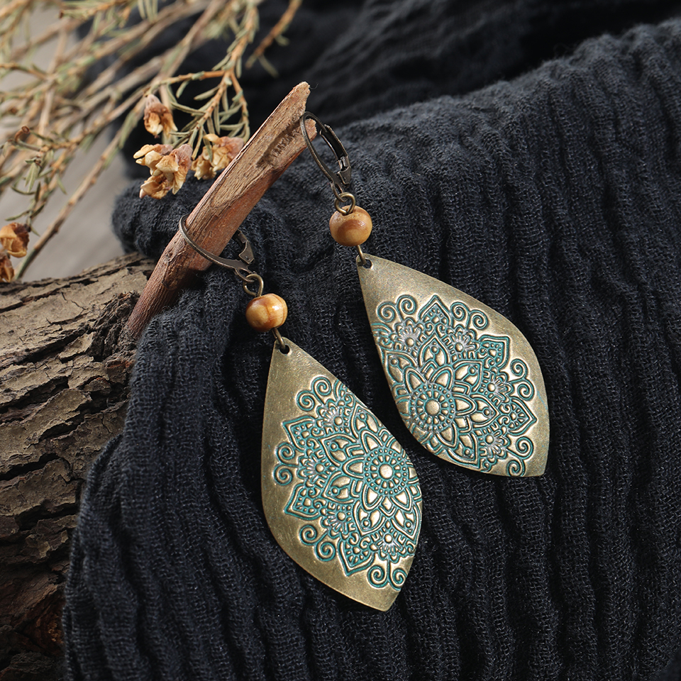 Vintage Indian Ethnic Engraved Dangle Drop Earrings 2018 Gifts For Women Fashion Jewelry Accessories Party Wedding Ornaments