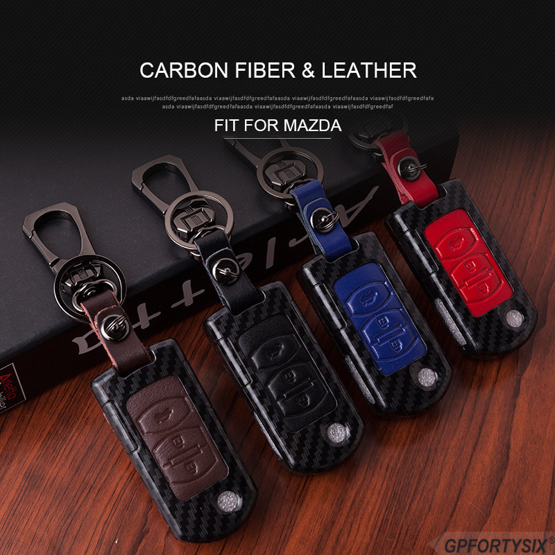 Mazda Black Carbon Fiber Texture Leather Key Chain