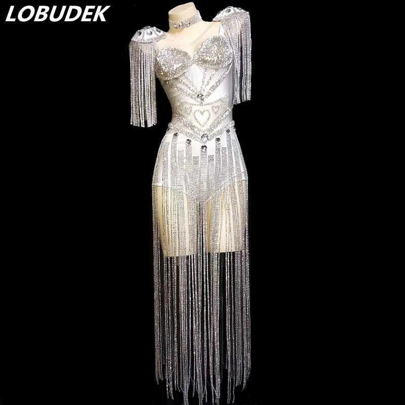 Блестящие белые черные стразы с кисточками Боди женские танцевальные брюки Джаз танцевальный наряд DJ Singer сексуальная модная сценическая одежда