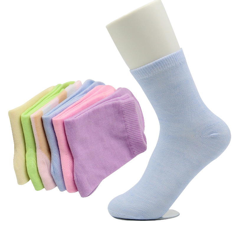 5 Pairs Women Sock Cute Solid Color Neatly Comfortable Cotton Women Socks Autumn Winter Anti-bacterial Lady Sock Meias Calcetine