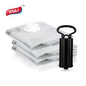 Image 1 - Вакуумный мешок для одежды с насосом, органайзер для шкафа, сумка для хранения багажа, пластиковая компрессионная сумка для экономии места