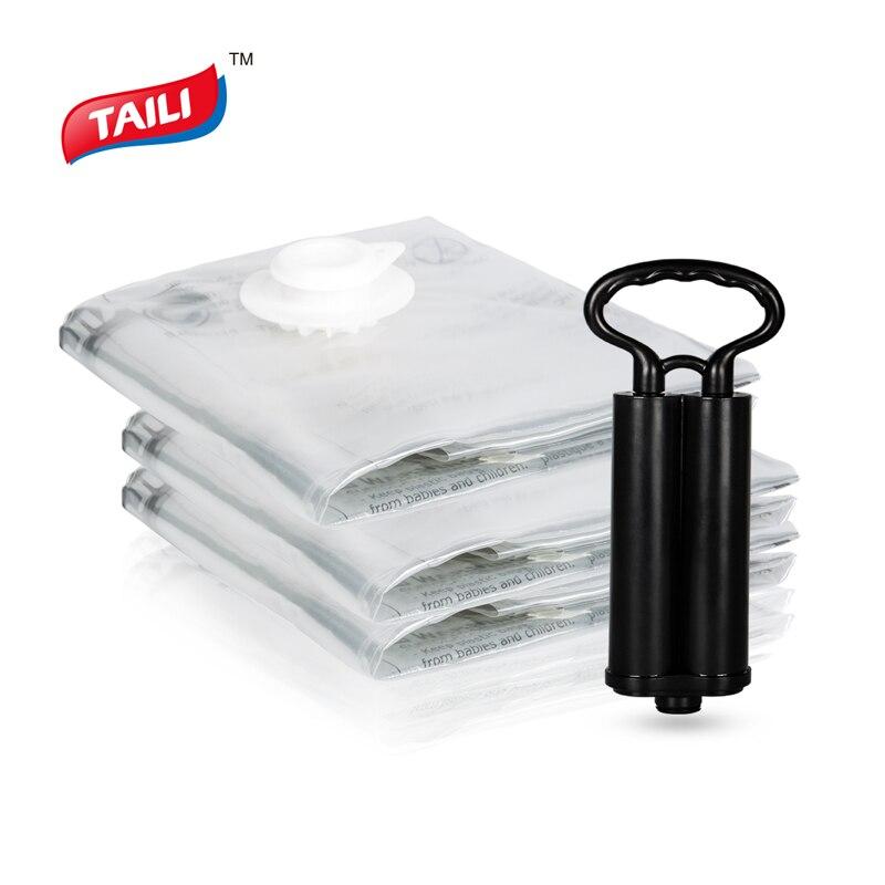 Vacuum Bag For Clothes With Pump Wardrobe Closet Organizer Foldable Luggage Storage Bag Plastic Space Saving Compression Bag
